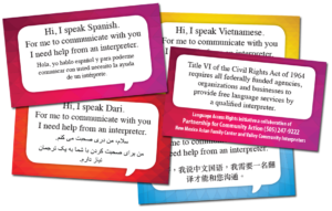 I Speak cards , part of the New Mexico Language Access Rights Initiative (LARI)