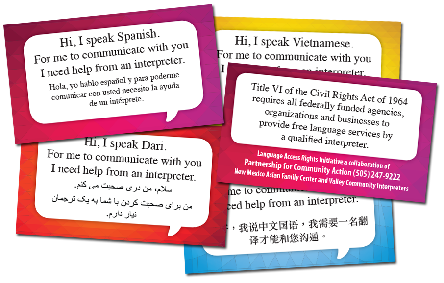 "Sample of the LARI ""I Speak"" cards"