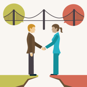 Illustration representing two people shaking hands, creating a bridge through their dialogue.