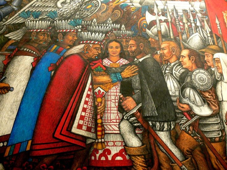 Mural by Desiderio Hernández Xochitiotzin showing Moctezuma, Cortez and Malintzin located in Tlaxcala City, Mexico.